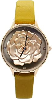 Chronomart Nafisa Women's Embossed 3D Peony Flower Rose Gold Color Case Yellow Leather Strap Wrist Watch NA-0228
