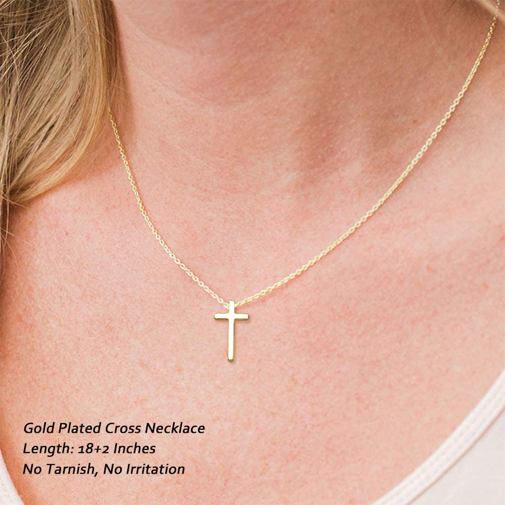 M MOOHAM Cross Necklace for Women Dainty Gold Plated Cross Pendant Necklace Sideways Cross Choker Layered Cross Necklace for Women Girls