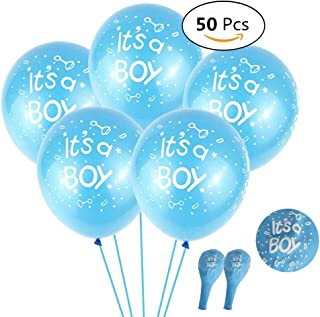 50 Pcs 12 Inch Baby Boy Shower Balloons Party Decoration, Featy - It's a Boy - Latex Balloons for Wedding Birthday Baby Shower Party DIY Decoration Blue Colors