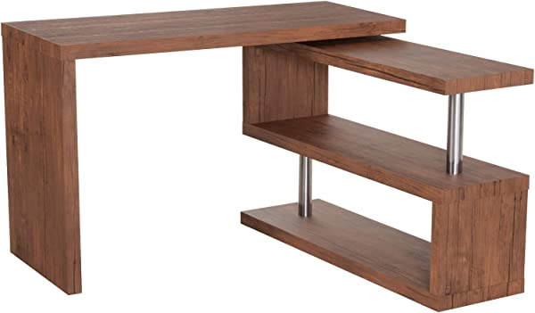 HOMCOM 75 Modern Corner Rotating Combo L Shaped Computer Desk With 2 Storage Shelves Walnut