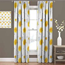 Yellow Flower Room Darkened Curtain Seasonal Autumn Florets Chrysanthemum Fall Leaves Natural Grace Theme Insulated Room Bedroom Darkened Curtains W42 x L63 Inch Mustard Pale Grey