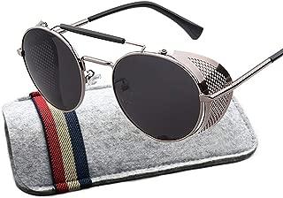 Retro Round Steampunk Sunglasses Side Shield Goggles Gothic Sunglasses