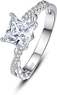 PAKULA 925 Sterling Silver Women Princess Cut Cubic Zirconia Infinity Knot Band CZ Wedding Ring