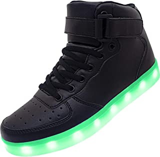 Kids Youth LED Light Up Sneakers Unisex Boys Girls High Tops Cool Flashing Shoes for Toddler Littler Kid Big Kid