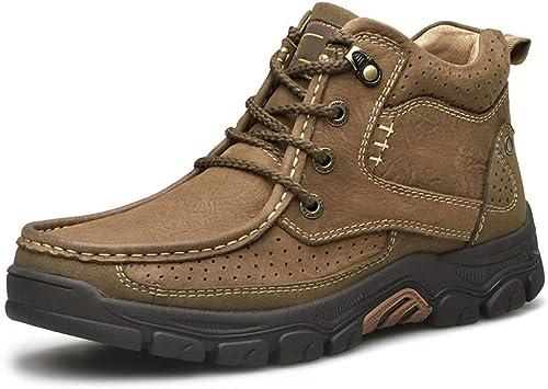HWG-GAOYZ Chaussures Homme Bottes Martin Randonnée Hivernale Chaussures De Coton Rétro Chaudes Et Antidérapantes Bottes,Lightmarron-41