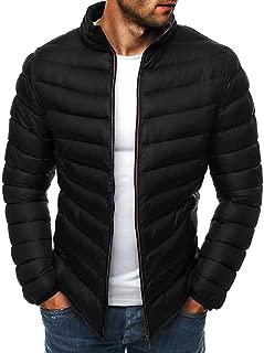 IZHH Men Parka Jacket Quilted Down Coat Zip Puffer Sherpa Jacket Solid Outwear