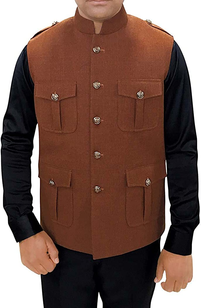 INMONARCH Mens Indian Vest Brown Wool Nehru Vest Safari Style NV97