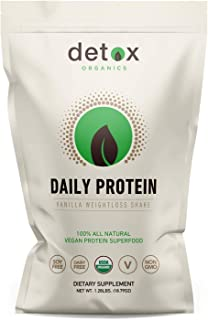 Detox Organics Vanilla Plant Based Protein Powder - Vegan Protein Powder Made from Hemp, Brown Rice, Pumpkin, and Quinoa P...
