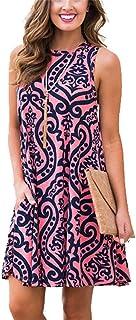 فساتين الشاطئ الصيفية للنساء تي شيرت Sundresses بوهو كاجوال بدون أكمام جيوب متأرجحة فضفاضة دمشقية