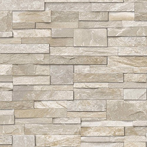 3D Slate Stone Brick Effect Wallpaper Washable Vinyl Sand & Stone
