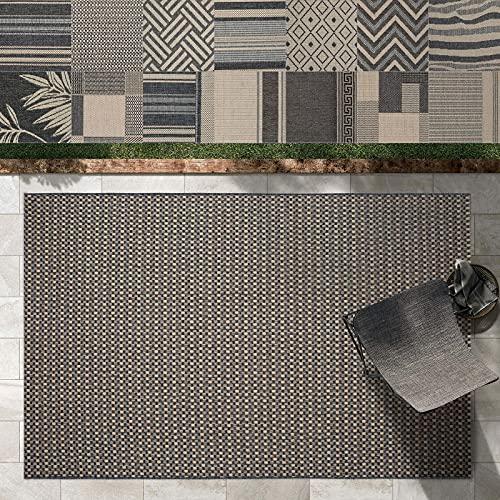 Outdoor Teppich Clyde für Terrasse und Balkon | wetterfester Sommerteppich für Garten | robustes Flachgewebe für außen und innen | modernes Design | Modell Courtyard mit Punkt Muster 200x290 cm