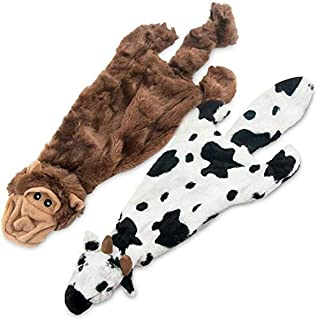 Best Pet Supplies 2-in-1 Fun Skin Stuffless Dog Squeaky Toy (Cow & Monkey, Small) (PT08T-44-S)