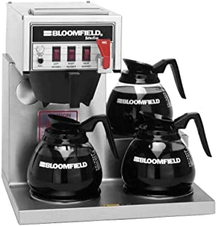 Bloomfield 8572D3F Koffee King Automatic Coffee Brewer, Low Profile, Pour-Over Option, Single, Faucet, 3-Warmer, Right Stepped, Stainless Steel, 17