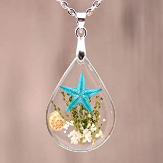 Chicer Pendant Real Starfish Seashell Underwater Plant Life Necklace, Cute Drop Water Necklace for Women and Girls. (Light Blue)