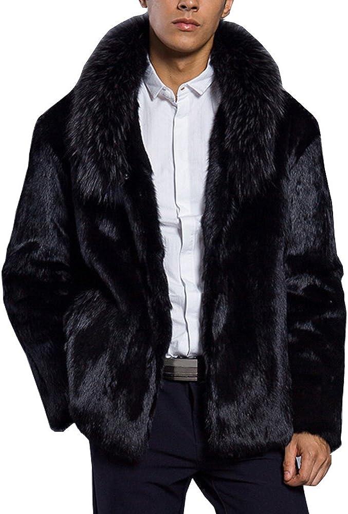 LIYT Men's Fashion Fur Collar Faux Fur Coat Winter Warm Jacket Overcoat Outwear
