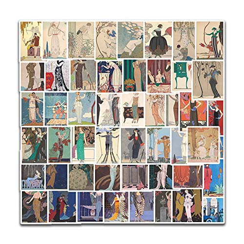 PMSMT Nuevo 50 Uds, Pegatinas de ilustración de Arte de Moda, calcomanías para Equipaje, Tabla de Snowboard, Nevera, Coche, Pegatinas para Ordenador portátil con Estilo