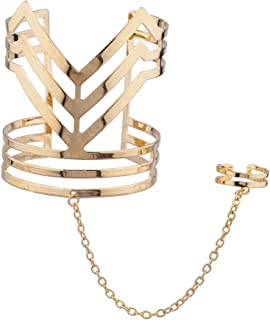 Lux Accessories V Metal Cuff Bracelet Slave Chain Adjustable Ring Combo