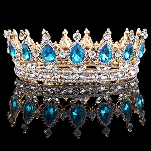 HerZii Prinzessinnen-Diadem mit Strass, für Hochzeit, Party-Zubehör, Kopfschmuck, Krone Sky blue+Gold