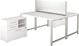Bush Business Furniture 400 Series 60W x 30D 2 Person Workstation with Table Desks and Storage in White