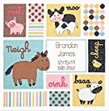 """Dimensions Barn Babies Birth Record Counted Cross Stitch Kit, Baby Shower Gift, 12"""" x 12"""""""