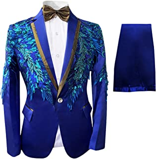 Mens 2 Piece Sequin Slim Fit Dress Suit One Button Floral Dinner Jacket & Pants