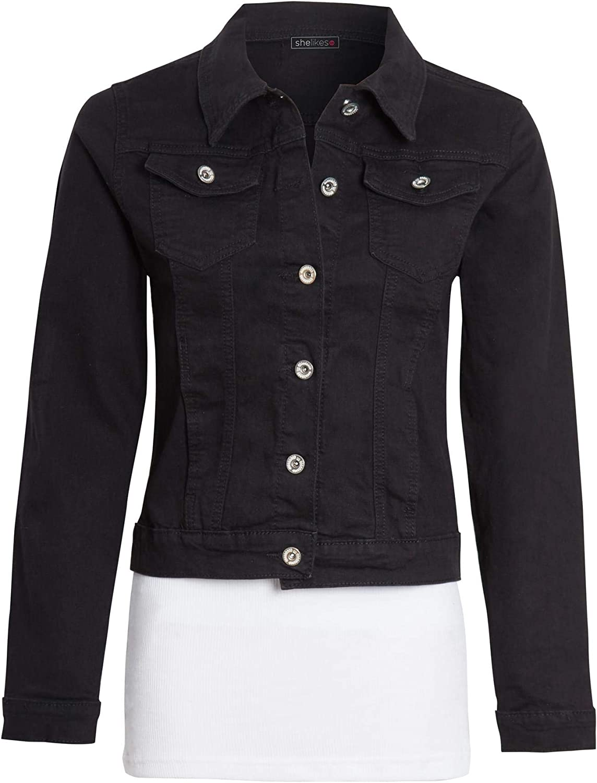 shelikes Womens Ladies Button Up Denim Blue Long Sleeve Jacket UK 6-14