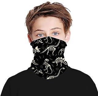 Mwfus Kids Neck Gaiter Seamless Tube Bandana Face Mask Cover for Children Sun Dust Protection(Dinosaur Fossil Black)