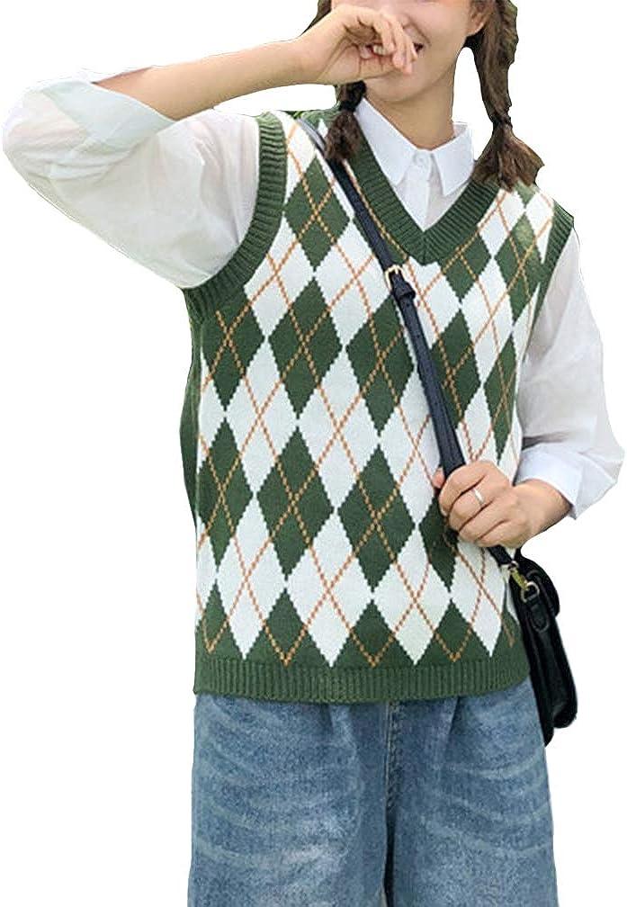 YIJIN Women Argyle Preppy Style Sweater Vest V Neck Casual Knitwear Knit Tank Top Pullover (White&Green)
