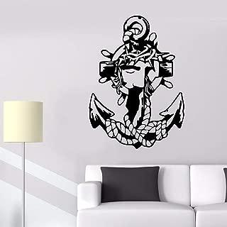 BFMBCH Patrón de anclaje marino pegatinas de pared guardería habitación infantil capitán marino marinero baño decoración del hogar pegatinas de pared A2 42x58cm