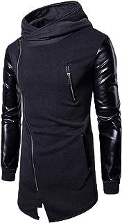 Men's Hoodie Leather Patchwork Hooded Sweatshirt Long Hoodie Jackets Fashionable Irregular Diagonal Zipper Placket Jacket ...