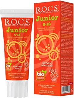Rocs Junior Çocuklar için Bitkisel İçerikli Diş Macunu 6-12 Yaş Meyveli Gökkuşağı 60ml