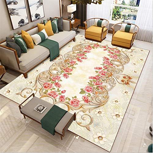 AU-SHTANG Alfombra para cocina Alfombra roja, alfombra de diseño de flores pequeñas, transpirable, antiácaros, fácil de aspirar, fácil de cuidar alfombras -rojo_50x80cm