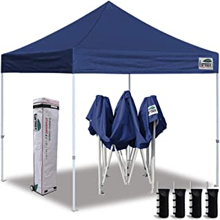 Eurmax 10'x10' Ez Pop Up Canopy Tent Commercial Instant Canopies with Heavy Duty Roller Bag,Bonus 4 Sand Weights Bags(Navy Blue)