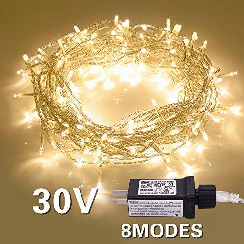 ETHINK Indoor String Light 200LED 82ft Christmas Lights 30V Safe Voltage 8 Modes Fairy String Lights for Homes, Christmas, Wedding Party, Bedroom,Room Wall Decoration (200LED, Warm White)
