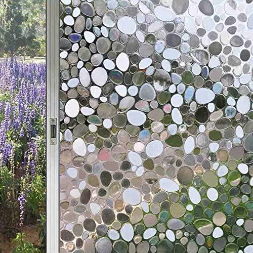 LMKJ Película de Ventana estática 3D Color Mate Opaco Pegatina de Vidrio de privacidad película de Vinilo de adoquines película casera B77 45x100cm