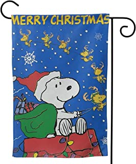 OAbear Merry Christmas Snoopy Unique Double Sided Garden Yard Decorations Flag 12.5 X 18 Inch