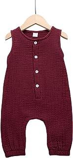 Cecobora Newborn Baby Boys Girls Romper Jumpsuit Cotton Linen Sleeveless Ruffled Bodysuit Infant Summer Clothes Outfits - ...