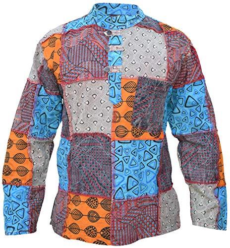 Gheri Camisa de manga completa de algodón con parche de cachemira para hombre a S