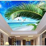 Papel tapiz de techo personalizado, murales de cielo azul Mar de Palma para el techo de la sala de estar apartamento hotel Fondo pared vinilo papel tapiz