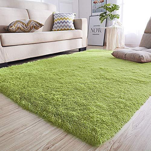絨毯 厚手 130*185CM グリーン ふわふわ 洗え 防ダニ 滑り止め 折り畳み痕なし 多色選択
