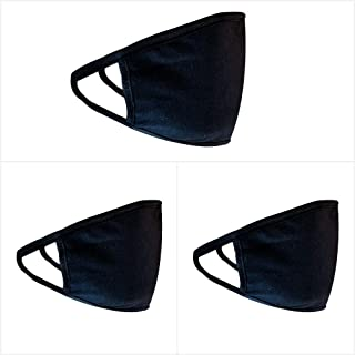 Black Cloth Face Mask (Pack of 3), Washable, Reusable, Anti-Dust Face Coverings for Men and Woman (Dust Particle & Droplet...