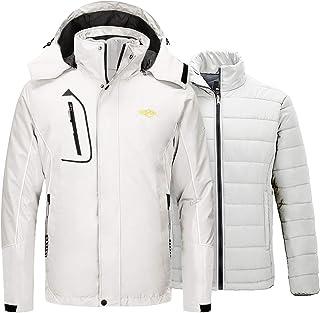Wantdo Men`s 3 in 1 Puffer Liner Ski Jacket Waterproof Rain Snow Warm Winter Coat