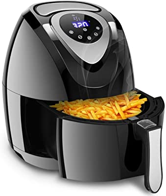 Oilless Air Fryer with Timer, Electric 7 in 1 Hot Air Fryer 3.4Qt, Oven Oilless Cooker for Steaks, Shrimps, Chips and Fish