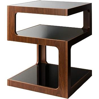 宮武製作所 サイドテーブル ブラウン 幅40×奥行き40×高さ52.5cm ARCA(アルカ) 3段 ガラス天板 ST-403 BR