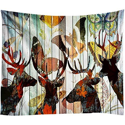 AdoDecor Mariposa Elk Tapiz Decorativo de Madera Psicodélico Colgante de Pared Decoración nórdica para el hogar Alfombra de Arte Fondo Bohemio Manta Hippie 40x60 Pulgadas