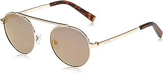 نظارة شمسية بتصميم دائري وشعار حرف ان مطبوع بالليزر للرجال من نوتيكا، لون ذهبي