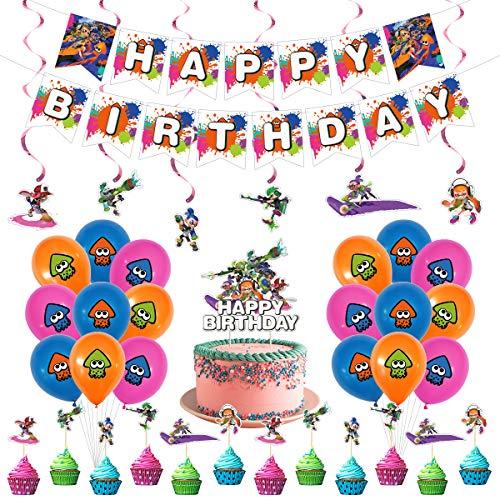 Splatoon Birthday Party Supplies, Splatoon theme Party Banner balloon cake topper spiral Decoration
