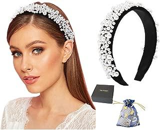 Pearl Headbands for Women Fashion Velvet White Studded Embellished Head Band Design Elegant Wedding Wide Hairbands For Adult Girl