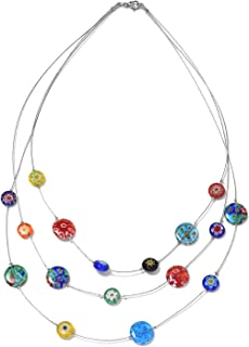 Shop LC Delivering Joy Murano Millefiori Glass Multi Color Bead Strand Necklace Stainless Steel Gift Costume Jewelry for Women Size 18