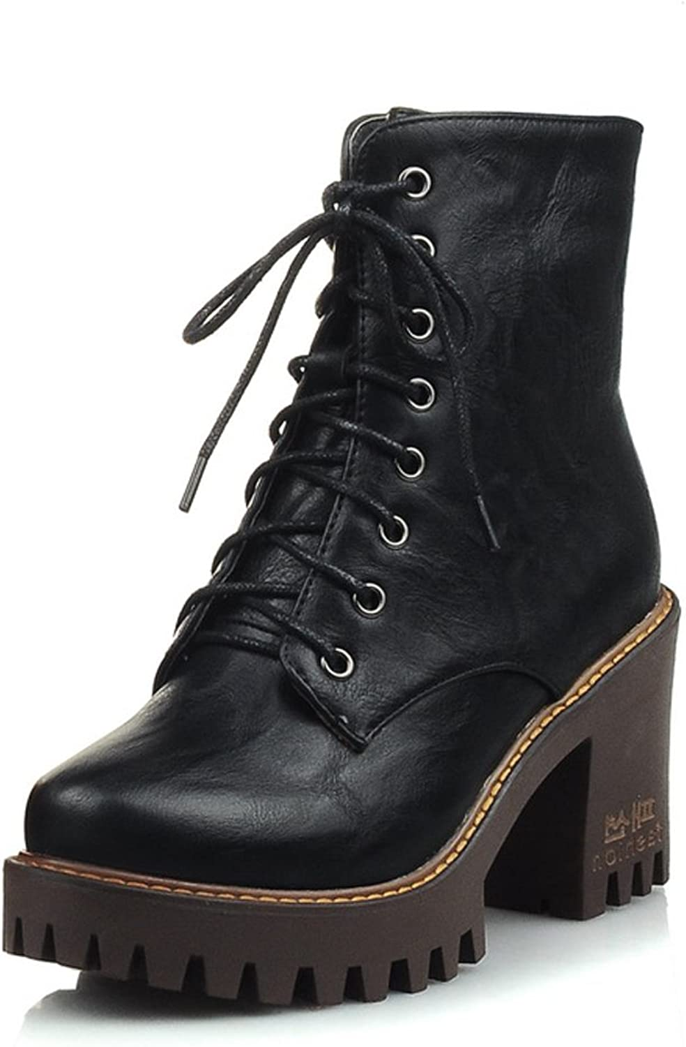 AIWEIYi Ladies Military Boots Round toe Square Heel Boots Lace up Platform Ankle Boots Brown